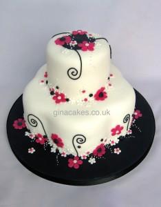 Pink Black White Flowery Wedding Cake