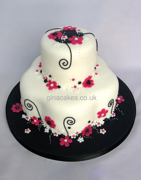 Pink Black White Flowery Wedding Cake