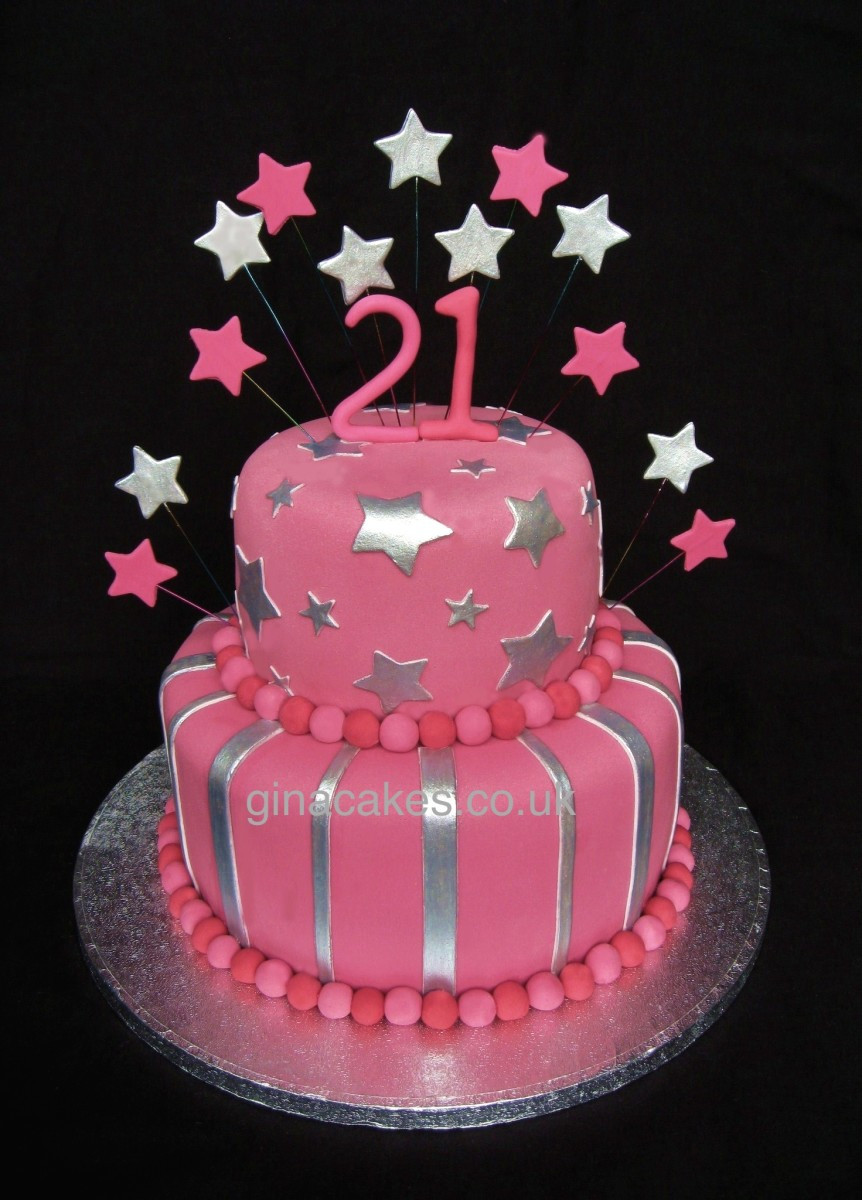 Birthday Cake Ideas And Pictures : 21st Birthday Pink & Silver stripes & Stars Cake - Gina ...