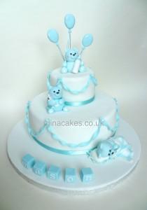 Boys Blue Teddy Bear Christening Cake