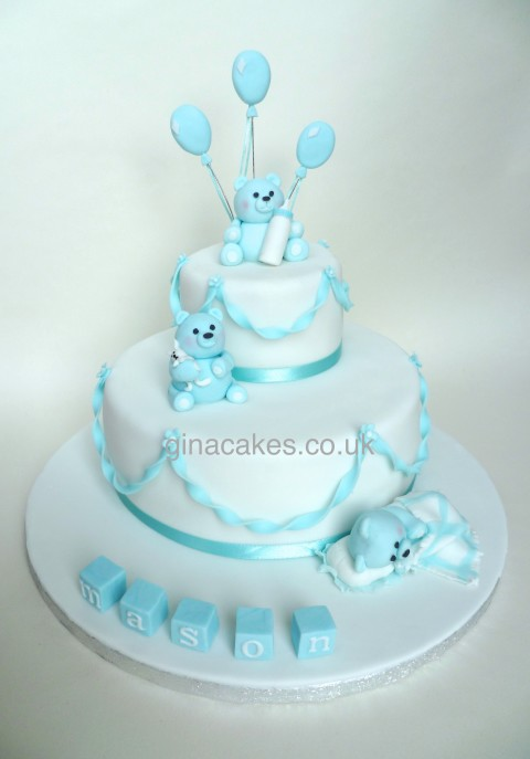 Boys Blue Teddy Bear Christening Cake
