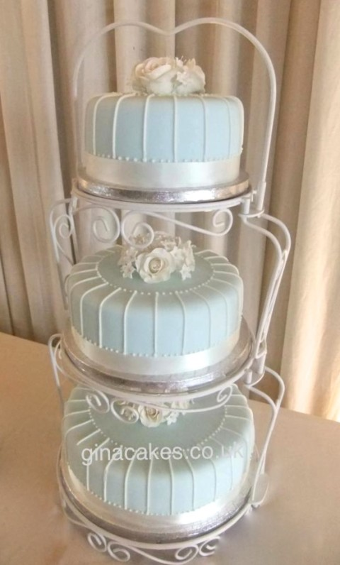 Shabby Chic Blue Cream wedding cake
