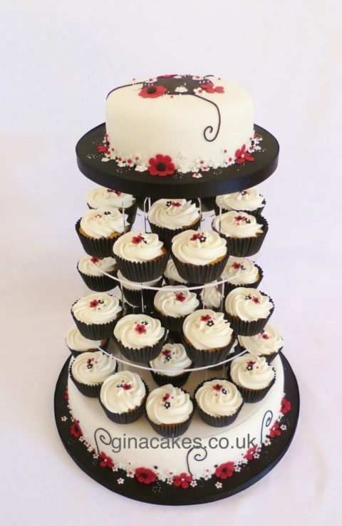 Black Pink White Wedding cake