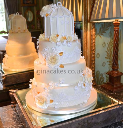 Shabby Chic Cream Lace wedding cake