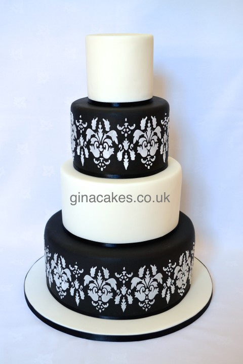 Black & White Damask Wedding Cake
