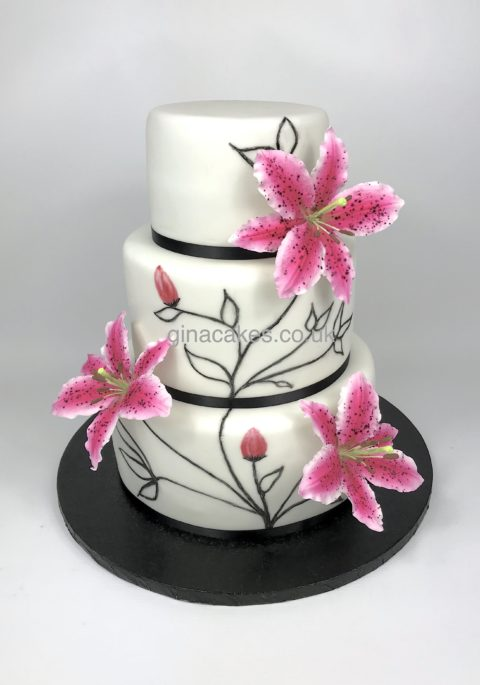 Pink Stargazer Lily Cake