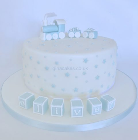 Blue & White Train Christening Cake