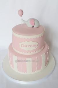Girls Pink Elephant Christening Cake