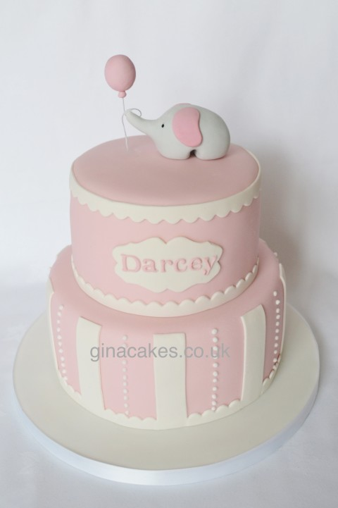 Girls Pink Elephant Christening Cake